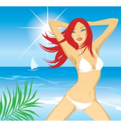 beach girl day vector image vector image