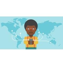 Businessman using smartphone vector image
