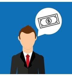 cartoon business man money bills vector image vector image