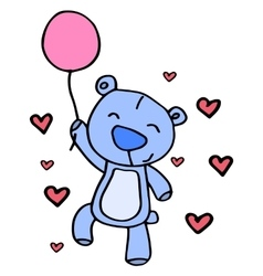 Character bear with balloon vector image