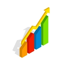 Chart arrow up icon isometric 3d style vector