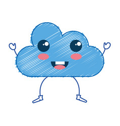 Cloud silhouette kawaii character vector