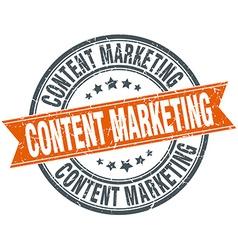 Content marketing round orange grungy vintage vector