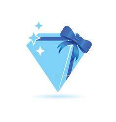 Diamond blue with bow vector