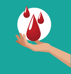 Donate blood hand with drops vector