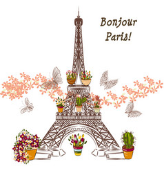 Eiffel tower and potters fully of flowers vector