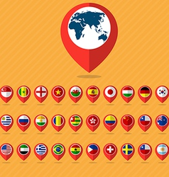 Flat icon set check in and flags vector
