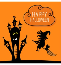 Haunted house happy halloween witch and black cat vector