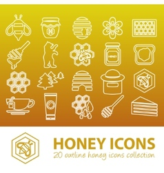 Honey outline icons vector