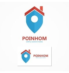 logo combination of a place point and house vector image vector image