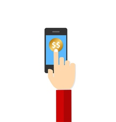 Money hand hold touch screen on mobile phone vector