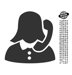 Receptionist icon with job bonus vector