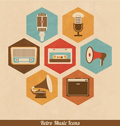 Retro Music Icons vector image