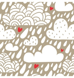Seamless pattern with clouds and falling raindrops vector