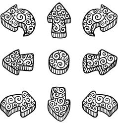 Set of black doodle ornate arrows vector image