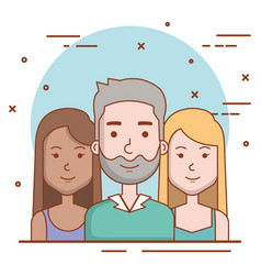 Set of people human man and women faces portraits vector