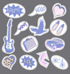 sketch comics set of stickers with hearts speech vector image