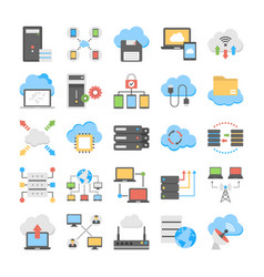 Web hosting and cloud technology flat set vector