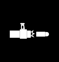 White icon on black background rifle bullet shot vector