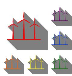 Wind turbines sign set of red orange yellow vector