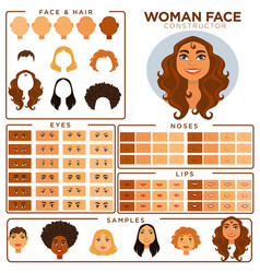 woman face constructor skin haircut nose and eyes vector image vector image
