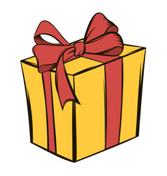 Yellow gift box with a red ribbon icon cartoon vector