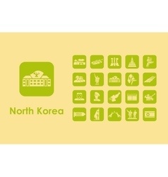 Set of north korea simple icons vector