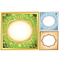 set of square frames with floral background vector image