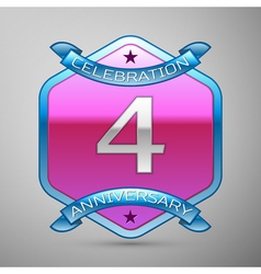 Four years anniversary celebration silver logo vector image