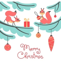 Merry christmas cute little squirrels with gift vector