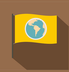 yellow flag with the image of the globe icon vector image