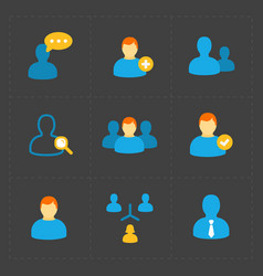 People flat icons set on black vector