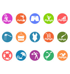 swimming pool round button icons set vector image