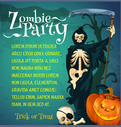 Halloween zombie party poster with skeleton vector