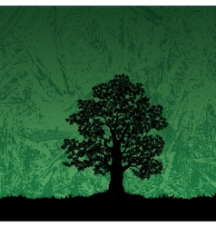 Oak tree silhouette on abstract background vector