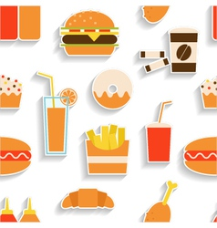Seamless pattern of fast food vector
