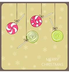Christmas vintage card with lollipops vector
