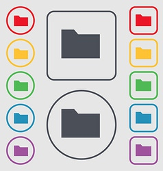 Document folder icon sign symbol on the round and vector