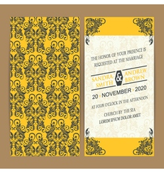 Wedding card yellow grey vector