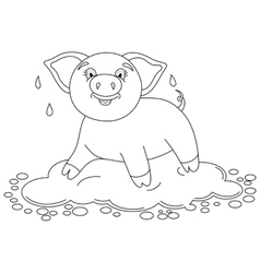 Funny piggy standing on water puddle coloring vector