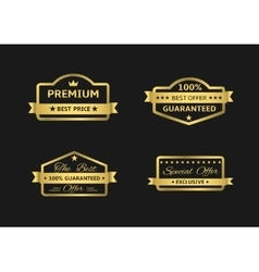 Golden premium labels vector