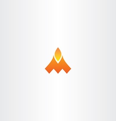 Letter m fire flame logo icon vector