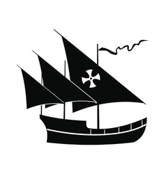 Santa maria sailing ship icon simple style vector