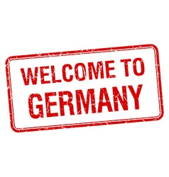 Welcome to germany red grunge square stamp vector