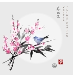 Sakura in blossom bamboo branch and little bird vector