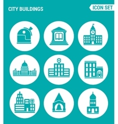 Set of round icons white city buildings vector
