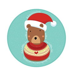Bear in christmas sweater vector