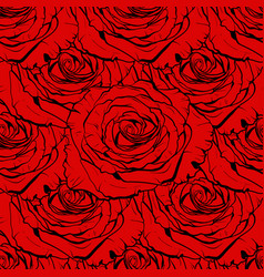 Beautiful red rose seamless hand-drawn vector