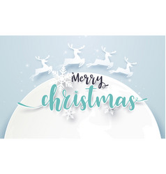 big moon and reindeer with merry christmas text vector image vector image
