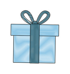 Blue gift box wrapped ribbon bow decoration vector